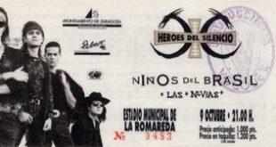 Entrada del mítico concierto en 1991 de Héroes, Niños y Novias