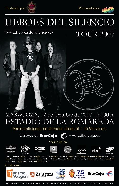 Cartel Concierto de Héroes del Silencio en Zaragoza Tour 2007