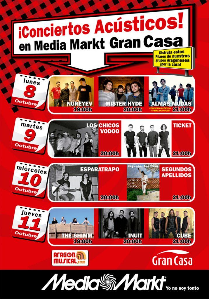 Cartel correspondiente a los conciertos que programa MEDIA MARKT en Pilares 2012
