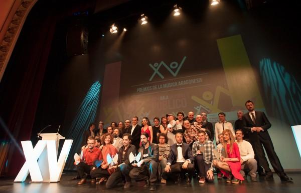 Foto de familia de los XV Premios de la Música Aragonesa