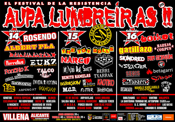 Cartel del festival Aupa Lumbreiras!!