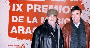 José Antonio Labordeta y Joaquín Carbonell en los IX Premios de la Música Aragonesa Aragón Musical.