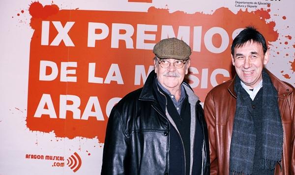 JOSÉ ANTONIO LABORDETA y JOAQUIÍN CARBONELL en los IX Premios de la Música Aragonesa