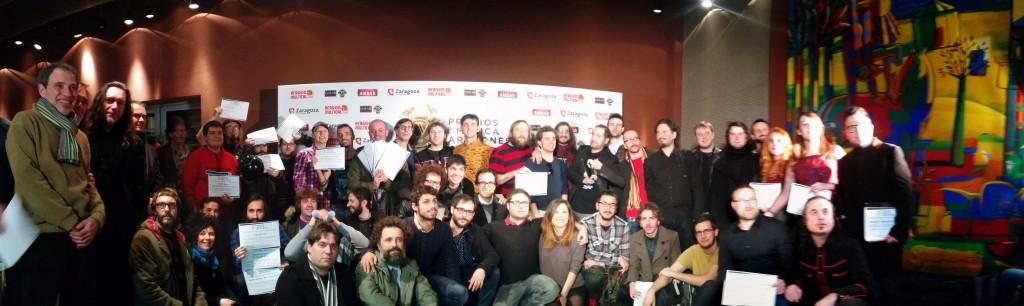 Foto de familia de los nominados conocidos en en rueda de prensa