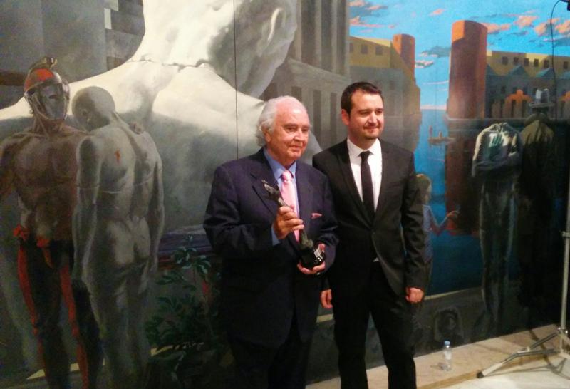 De izquierda a derecha: Antón García Abril (Premio de Honor) y José Ángel Delgado (director de los Premios Simón). Por: Aragón Musical.