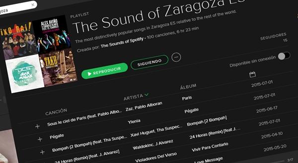Listado de Spotify de lo más escuchado en Zaragoza