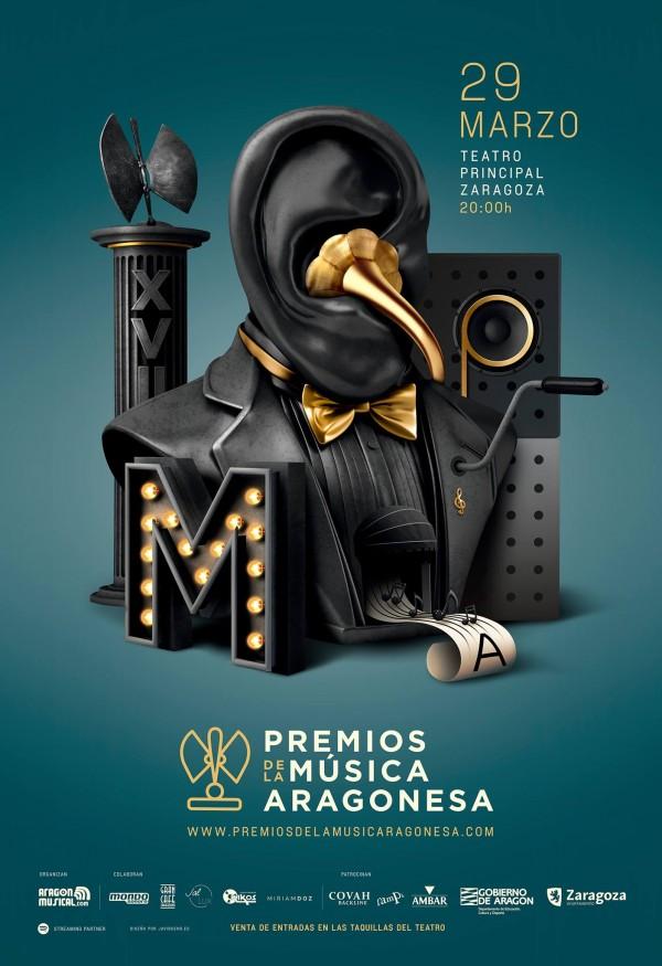 Cartel de los XVII Premios de la Música Aragonesa. Por: Javier Bueno.