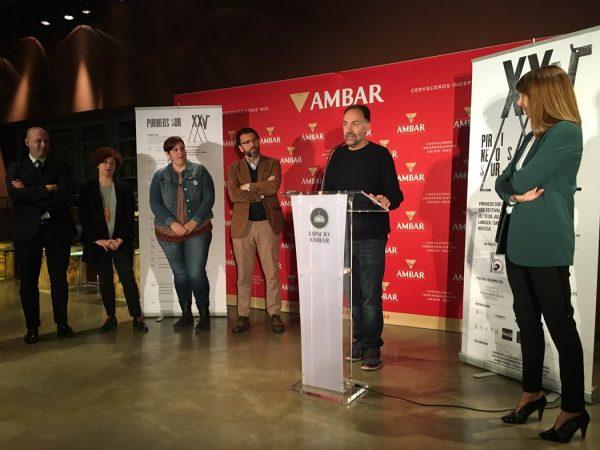 Durante la presentación en Zaragoza de Pirineos Sur 2016