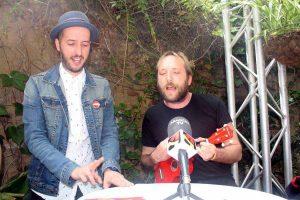 Diego Peña y Álvaro Mazarrasa hoy durante la rueda de prensa del II Love Fest. Por: Aragón Musical.