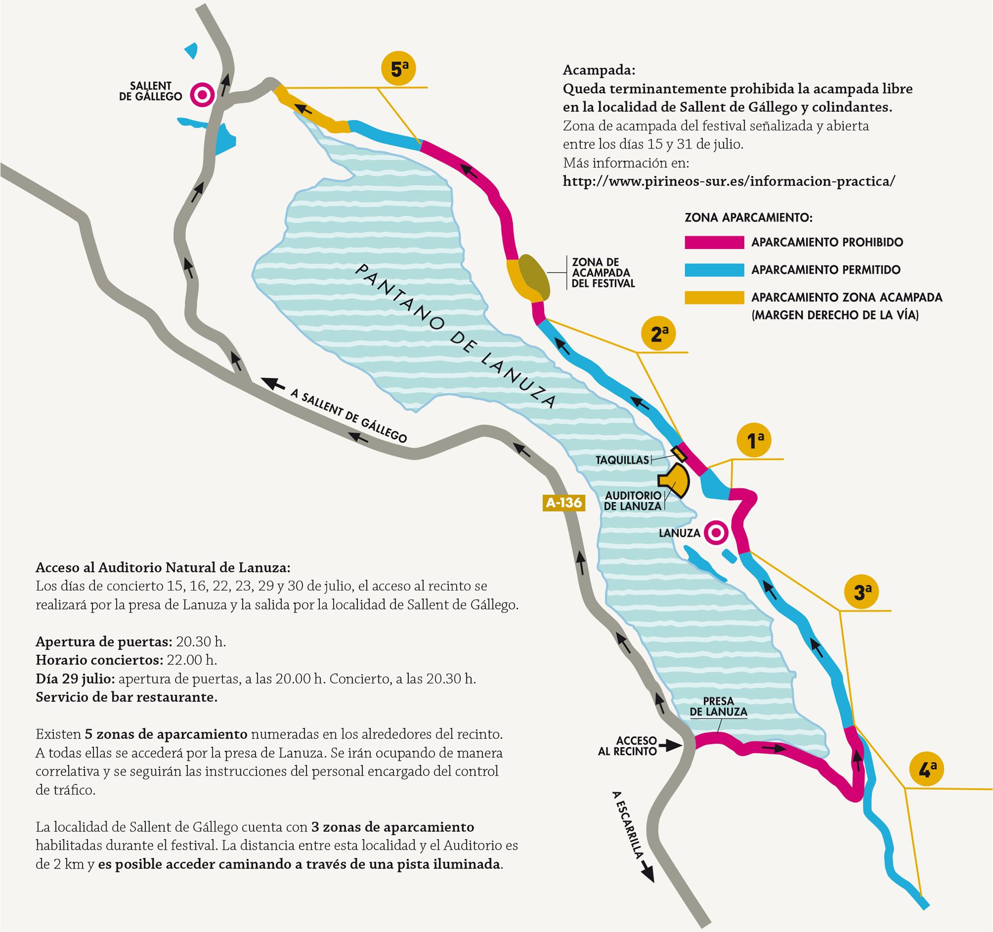 Mapa zona acampada y aparcamiento Pirineos Sur 2016