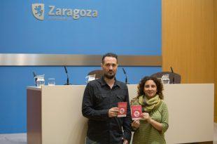Esta manaña, la concejala de Igualdad del Ayuntamiento de Zaragoza, Arantza Gracia, y Pablo Cano 'Patxi', Presidente de la asociación de salas Aragón en Vivo.