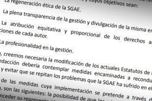 Parte del manifiesto por la reforma de la SGAE que han firmado 139 músicos, de ellos cinco aragoneses