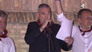 Kase.O durante su intervención como Pregonero en las Fiestas del Pilar 2017