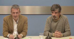 El Consejero de Cultura Fernando Rivarés y el actual director de Las Armas Sergio Vinadé durante su comparecencia.