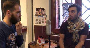 Sharif y Mxrgxn hablando en el Vinagre & Rock de Zaragoza para Aragón Musical