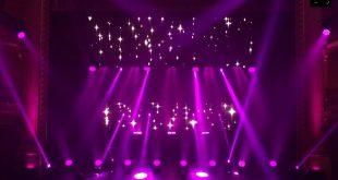 Pruebas de luces de las empresas Covah y Rampa para los 21º Premios de la Música Aragonesa desde el Teatro Olimpia de Huesca