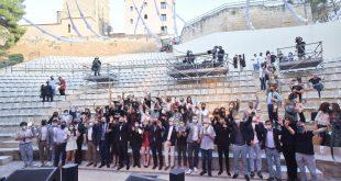 Foto de familia de los participantes en los 22º Premios de la Música Aragonesa. Foto de Ángel Burbano.