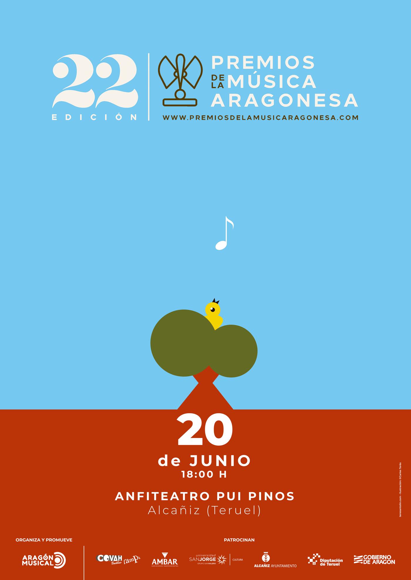 Cartel oficial de los 22º Premios de la Música Aragonesa. Por Terès&Antolín.