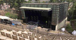 El Anfiteatro Pui Pinos de Alcañiz horas antes de los 22º Premios de la Música Aragonesa.