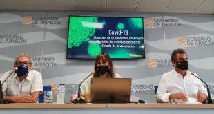 Durante la rueda de prensa del Gobierno de Aragón