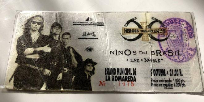 Entrada del mítico concierto en 1991 de Héroes del Silencio, Niños del Brasil y Las Novias. Fuente: Aragón Musical.